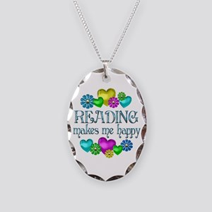 Reading Happiness Necklace Oval Charm