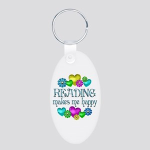 Reading Happiness Aluminum Oval Keychain
