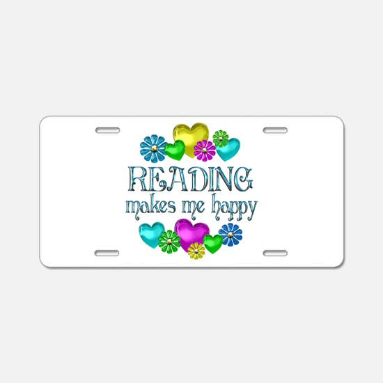 Reading Happiness Aluminum License Plate
