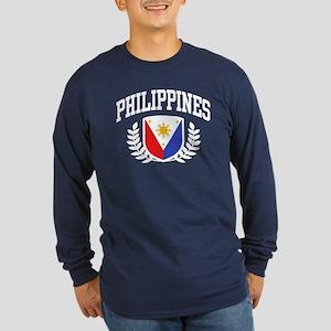 Philippines Flag Long Sleeve Dark T-Shirt