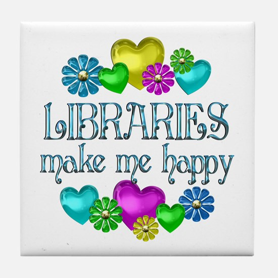 Library Happiness Tile Coaster