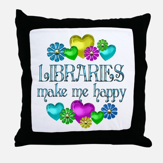 Library Happiness Throw Pillow