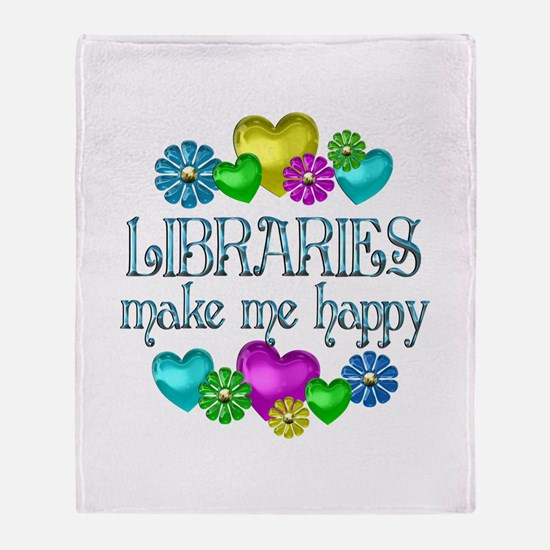 Library Happiness Throw Blanket