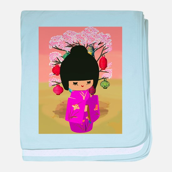 Cute kawaii pink dress kokeshi baby blanket