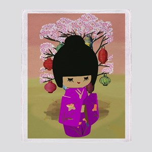Cute kawaii pink dress kokeshi Throw Blanket