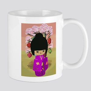 Cute kawaii pink dress kokeshi Mug