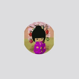 Cute kawaii pink dress kokeshi Mini Button