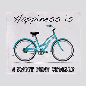 Happiness is a Beach Cruiser Throw Blanket