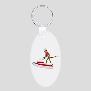 Sock Monkey Jet Ski Aluminum Oval Keychain