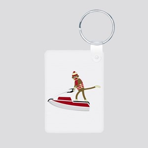 Sock Monkey Jet Ski Aluminum Photo Keychain