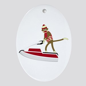 Sock Monkey Jet Ski Ornament (Oval)