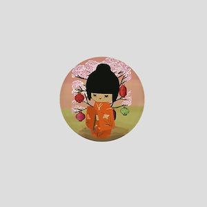 cute kawai kokeshi doll Mini Button