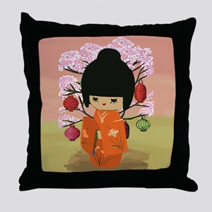 cute kawai kokeshi doll Throw Pillow