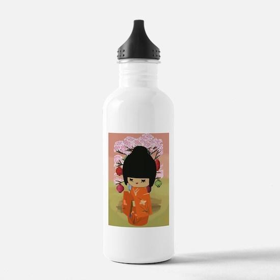 cute kawai kokeshi doll Water Bottle
