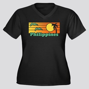 Philippines Women's Plus Size V-Neck Dark T-Shirt
