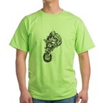 Pen & Ink Motocross Green T-Shirt