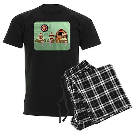 No Evil Sock Monkeys Ice Cream Men's Dark Pajamas