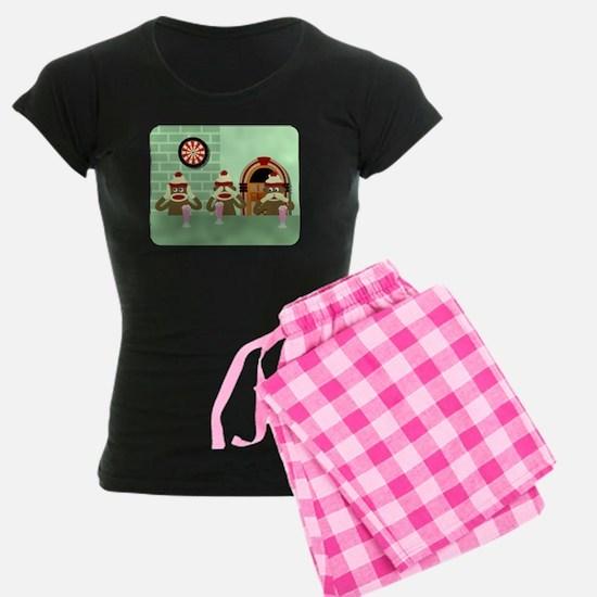 No Evil Sock Monkeys Ice Cream Womens Dark Pajamas
