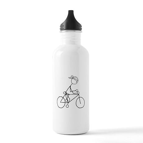 Biking Girl-Black Stainless Water Bottle 1.0L