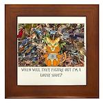The Birding Cat Framed Tile