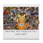 The Birding Cat Tile Coaster