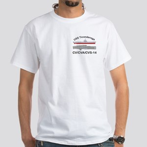 USS Ticonderoga CV-14 White T-Shirt