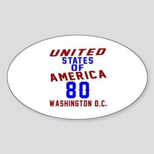 America 80 Birthday Sticker (Oval)