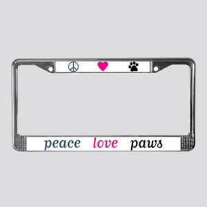 Peace Love Paws License Plate Frame (White)
