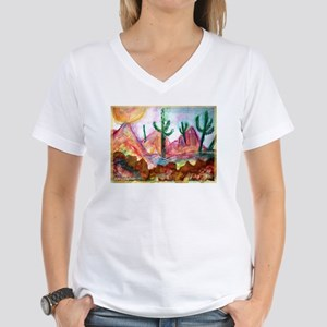 Desert, colorful, Women's V-Neck T-Shirt