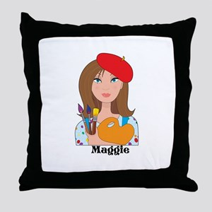 Lady Artist Throw Pillow