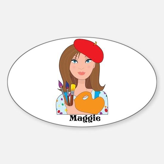 Lady Artist Sticker (Oval)