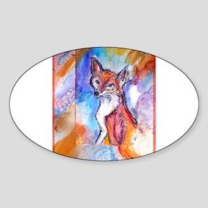 Fox, colorful, Sticker (Oval)