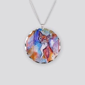 Fox, colorful, Necklace Circle Charm
