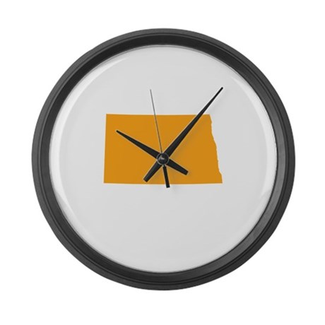 Orange North Dakota Large Wall Clock