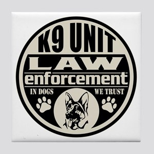 K9 In Dogs We Trust Black Tile Coaster