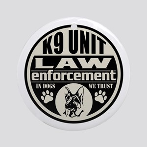 K9 In Dogs We Trust Black Ornament (Round)