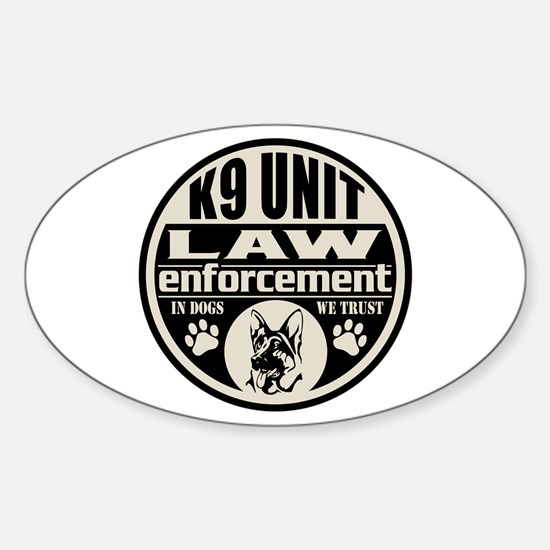 K9 In Dogs We Trust Black Sticker (Oval)