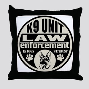 K9 In Dogs We Trust Black Throw Pillow