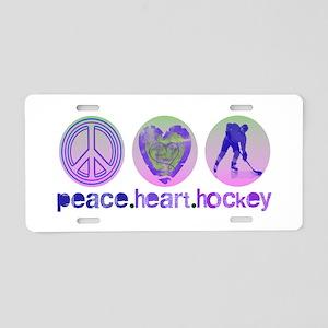 PEACE HEART HOCKEY Aluminum License Plate