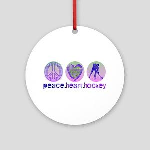 PEACE HEART HOCKEY Ornament (Round)