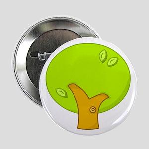 Earth Day Green Cartoon Tree Button