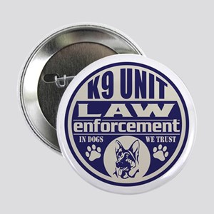 """K9 In Dogs We Trust Blue 2.25"""" Button"""