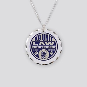 K9 In Dogs We Trust Blue Necklace Circle Charm