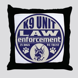 K9 In Dogs We Trust Blue Throw Pillow