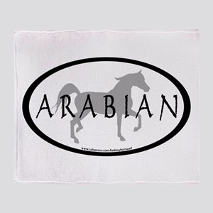 Arabian Horse Text & Oval (gr Throw Blanket