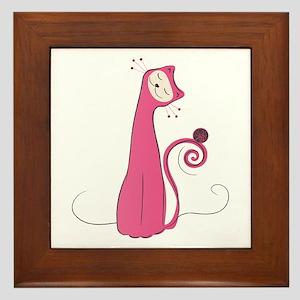 Cheerful Cat Framed Tile