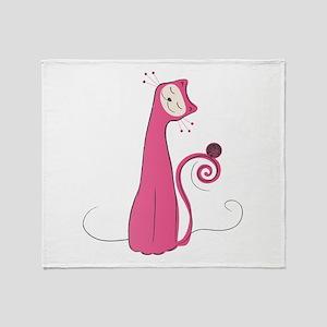 Cheerful Cat Throw Blanket