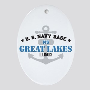 US Navy Great Lakes Base Ornament (Oval)