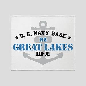 US Navy Great Lakes Base Throw Blanket