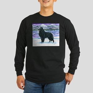 Belgian Sheepdog In Snow Long Sleeve Dark T-Shirt
